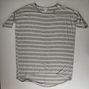 LuLaRoe Irma tunic gray and white stripes
